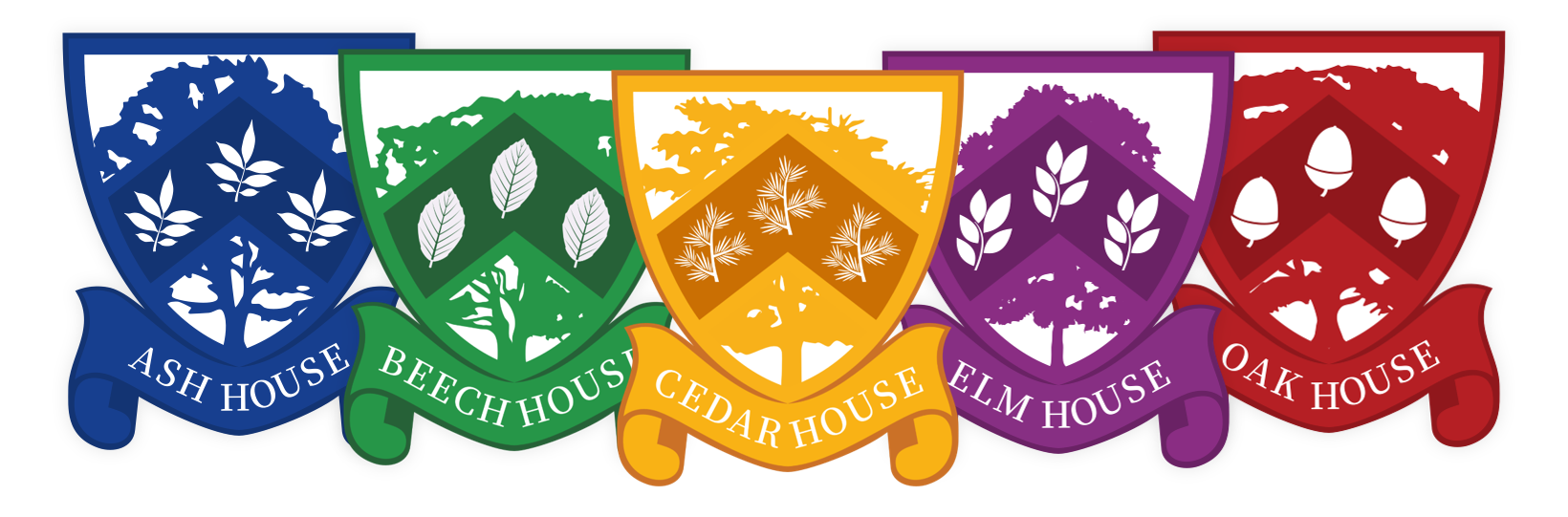 Five house crests